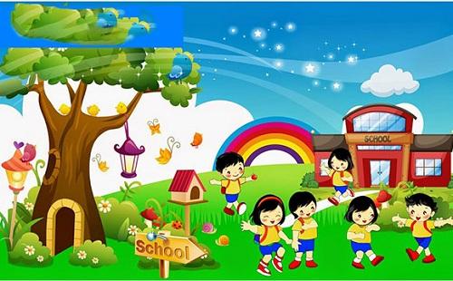 tranh tường trường tiểu học