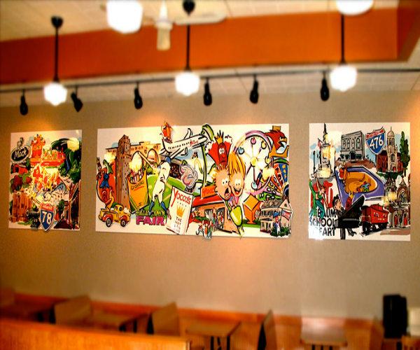 tranh vẽ quán ăn